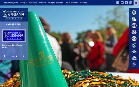 Screenshot of Home Page ulsystem.edu - University of Louisiana System - captured March 9, 2016