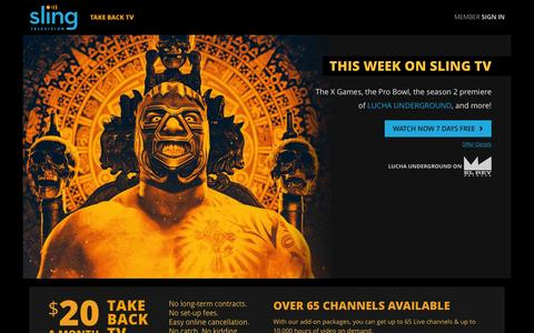 Screenshot of Home Page sling.com - Sling TV - Watch Live TV Programming Any Time and Anywhere - captured Jan. 28, 2016