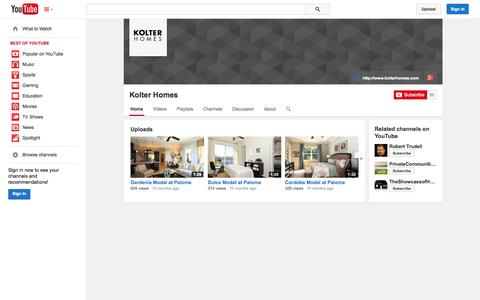 Screenshot of YouTube Page youtube.com - Kolter Homes  - YouTube - captured Oct. 22, 2014