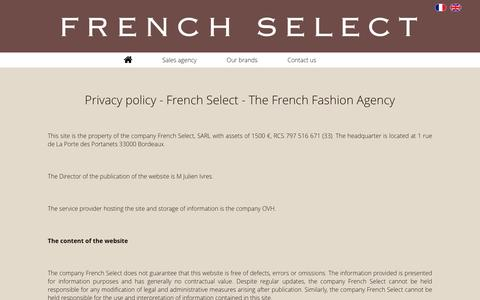 Screenshot of Privacy Page french-select.com - French Select - Our privacy policy - captured Aug. 4, 2016