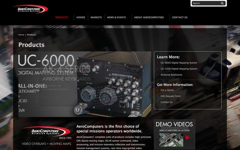 Screenshot of Products Page aerocomputers.com - Mission Management Systems, Augmented Reality Overlays, HD LCD Displays and Rugged Keyboards - captured Nov. 20, 2016