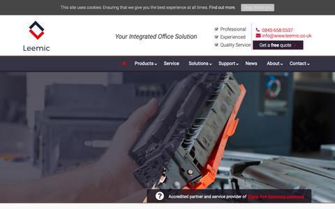 Screenshot of Home Page leemic.co.uk - Photocopier Nationwide Supplier   Samsung & Sharp Gold Partner - captured Dec. 14, 2018