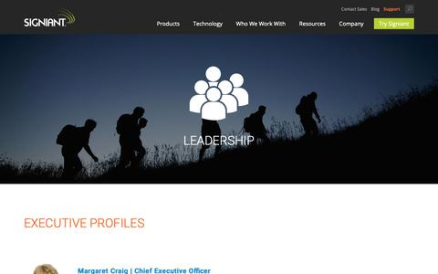 Screenshot of Team Page signiant.com - Leadership | Signiant - captured March 23, 2019