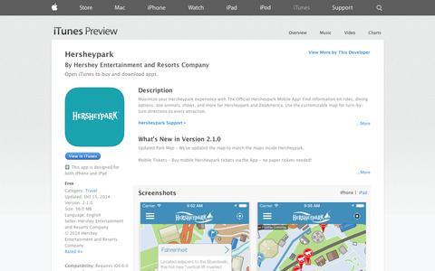 Screenshot of iOS App Page apple.com - Hersheypark on the App Store on iTunes - captured Nov. 3, 2014