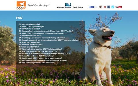 Screenshot of FAQ Page dogtv.com - FAQ | DOGTV - captured Sept. 23, 2014