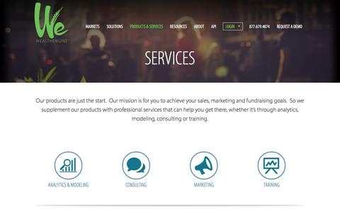 Screenshot of Services Page wealthengine.com - Services | WealthEngine - captured June 9, 2018