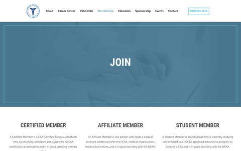 Screenshot of Signup Page nsaa.net - Sign-Up - NSAA | National Surgical Assistant Association - captured July 6, 2017