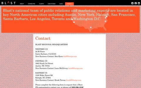 Screenshot of Contact Page blastpr.com - Contact - Blast PR - captured July 29, 2016