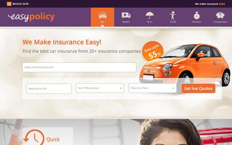 Screenshot of Home Page easypolicy.com - Compare Online Insurance Plans in India – Easypolicy - captured July 18, 2015