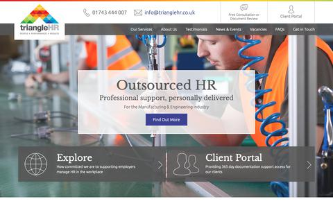 Screenshot of Home Page trianglehr.co.uk - HR Services | HR Shropshire | Triangle HR - captured Oct. 24, 2018