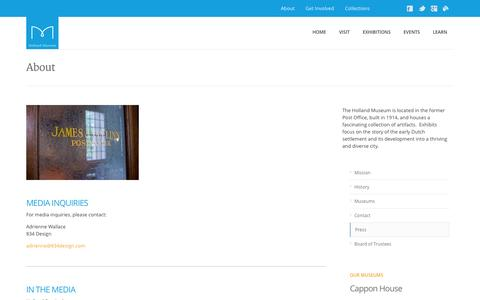 Screenshot of Press Page hollandmuseum.org - Press - captured Oct. 3, 2014