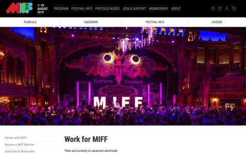 Screenshot of Jobs Page miff.com.au - Work for MIFF | MIFF 2019 - captured July 12, 2019