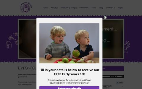 Screenshot of Home Page easysolution4nurseryeducation.co.uk - - Cloud-based curriculum software for EYFS - captured July 16, 2015