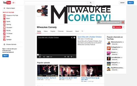 Screenshot of YouTube Page youtube.com - Milwaukee Comedy  - YouTube - captured Oct. 26, 2014