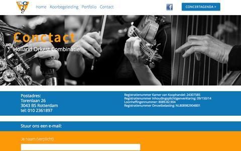 Screenshot of Contact Page hollandorkestcombinatie.nl - Contact – Holland Orkest Combinatie - captured Dec. 2, 2016
