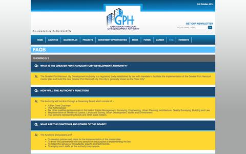 Screenshot of FAQ Page gphcity.com - GPHCDA ® - GREATER PORT HARCOURT CITY DEVELOPMENT AUTHORITY - captured Oct. 3, 2014