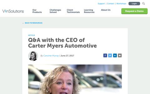 Screenshot of Blog vinsolutions.com - VinSolutions - Q&A with the CEO of Carter Myers Automotive - captured Dec. 3, 2019