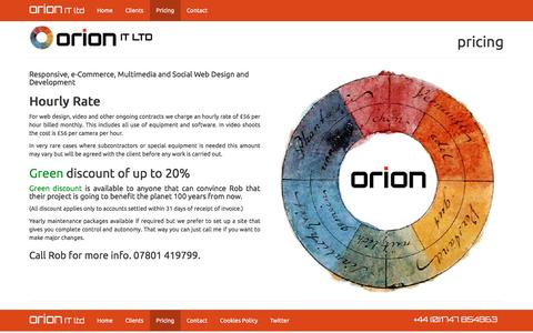 Screenshot of Pricing Page orionit.ltd.uk - Orion I.T. Limited - Pricing - captured Feb. 14, 2016
