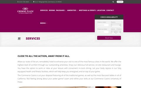 Screenshot of Services Page cpccla.com - Crowne Plaza Hotel at Commerce Casino Los Angeles - captured Feb. 1, 2016