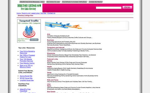 Screenshot of Home Page directory-listingsnow.org - Directory Listings Now - Submit Free Links. View   Category Links. - captured Sept. 23, 2018