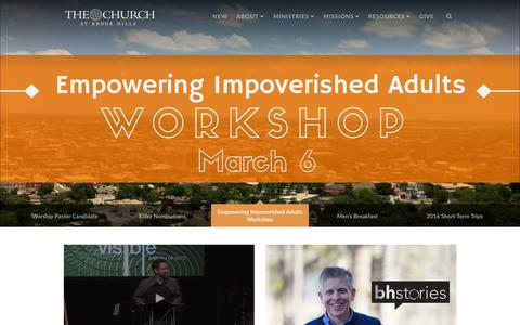 Screenshot of Home Page brookhills.org - The Church at Brook Hills · Home - captured Feb. 17, 2016