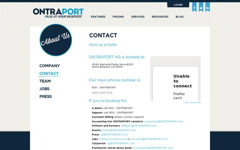 Screenshot of Contact Page ontraport.com - Ontraport - About Us - Contact - captured July 21, 2014