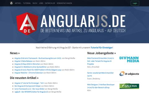 Screenshot of Home Page angularjs.de - AngularJS.DE → Das deutsche Portal zu AngularJS - captured Jan. 18, 2016