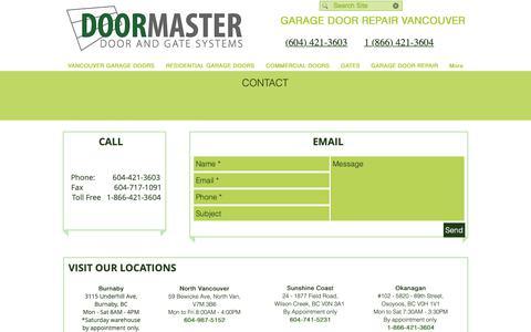 Screenshot of Contact Page canadiandoormaster.com - Canadian Doormaster Contact Info - captured Sept. 26, 2018