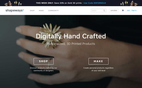 Screenshot of Home Page shapeways.com - Shapeways - 3D Printing Service and Marketplace - captured Feb. 24, 2016