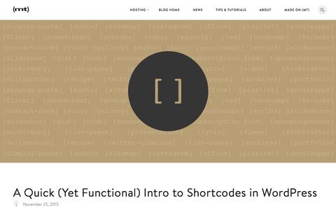 Screenshot of Blog mediatemple.net - A Quick (Yet Functional) Intro to Shortcodes in WordPress - The Media Temple Blog - captured Dec. 2, 2015