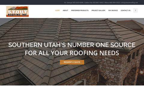 Screenshot of Home Page stoutroofing.net - Stout Roofing Inc.   St. George, UT - captured Nov. 16, 2019