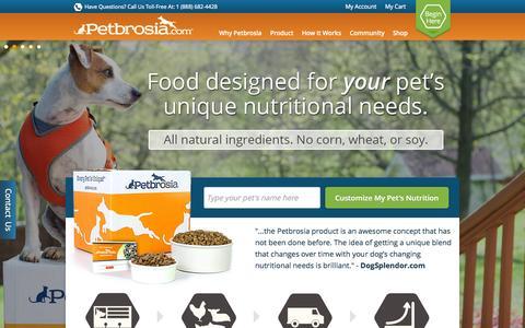 Screenshot of Home Page petbrosia.com - Petbrosia: Best Dog and Cat Food | Custom Designed Pet Food - captured Jan. 14, 2015