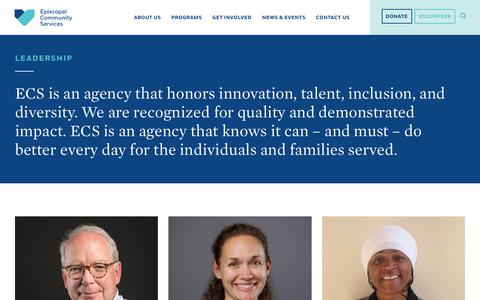 Screenshot of Team Page ecsphilly.org - Leadership – Episcopal Community Services - captured Aug. 14, 2017