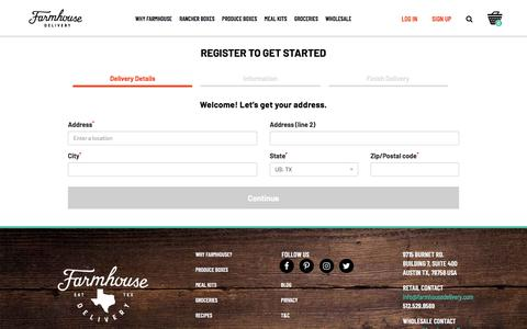 Screenshot of Signup Page farmhousedelivery.com - Register :: Produce, meat, groceries and more, sourced from Texas farmers using beyond organic and sustainable practices, all delivered to your door - captured Oct. 13, 2019