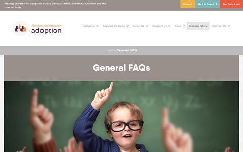 Screenshot of FAQ Page familiesforchildren.org.uk - General FAQs - Families for children adoption agency in Devon, Dorset, Somerset, Cornwall and the Isles of Scilly - captured Oct. 10, 2018