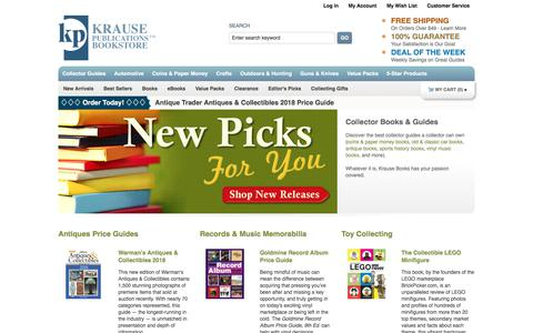 Screenshot of Home Page krausebooks.com - Collector Guide Books for Coins, Guns, Knives, Cars, Antiques & more!    Krause Books - captured Oct. 29, 2017