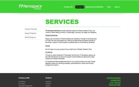 Screenshot of Services Page tpaerospace.com - Services - captured Sept. 30, 2014