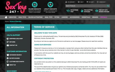 Screenshot of Terms Page sextoys247.net.au - Terms of Service - SEX TOYS 247® - SEX TOYS 247® - captured Aug. 12, 2016