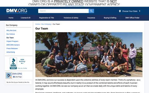Screenshot of Team Page dmv.org - Our Team | DMV.ORG - captured Sept. 21, 2018
