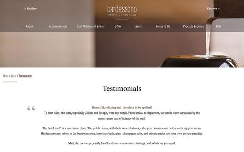 Screenshot of Testimonials Page bardessono.com - Guest Reviews for Bardessono Hotel and Spa in Yountville Napa Valley - captured April 14, 2018