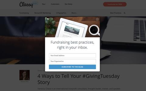 Screenshot of Blog classy.org - Home - Best practices, tips & fundraising ideas for nonprofits - captured Dec. 3, 2015