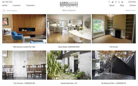 Screenshot of Locations Page carolhayesmanagement.co.uk - Book Photo Shoot Locations in London for Advertising and Commercials from Carol Hayes Management Agency | Carol Hayes Management - captured Dec. 7, 2015