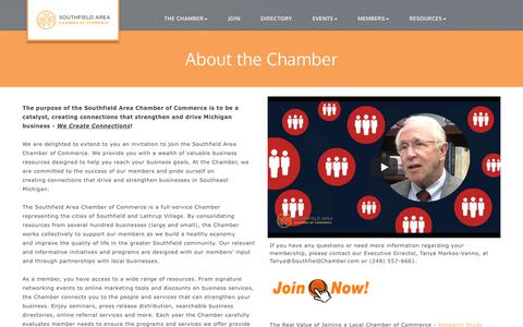 Screenshot of About Page southfieldchamber.com - About Us - Southfield Area Chamber of Commerce, MI - captured Oct. 23, 2017