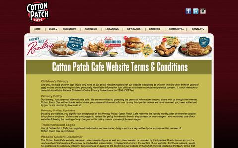 Screenshot of Terms Page cottonpatch.com - Cotton Patch Cafe - Fresh Grilled Favorites | Terms and Conditions - captured Aug. 27, 2016