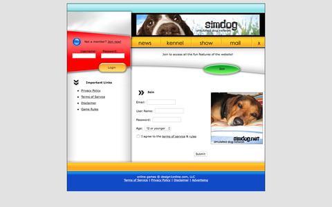Screenshot of Signup Page simdog.net - Sim Dog Game   Simulated Dog Network - captured June 1, 2016