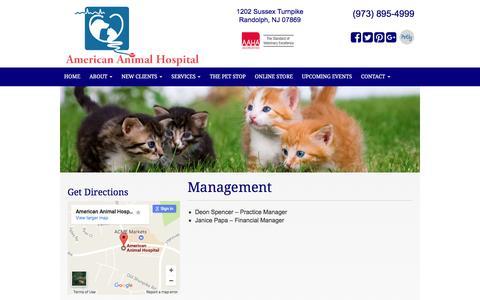Screenshot of Team Page americananimalhospital.com - Management in Randolph, NJ | American Animal Hospital - captured May 30, 2017