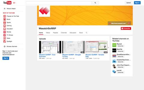 Screenshot of YouTube Page youtube.com - WasatchSoftRIP  - YouTube - captured Oct. 27, 2014