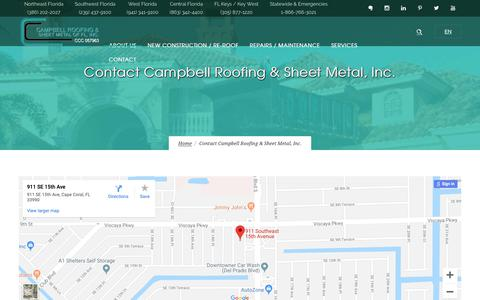 Screenshot of Contact Page campbellrfg.net - Campbell Roofing and Sheet Metal Florida | Contact Campbell Roofing & Sheet Metal, Inc. - captured Sept. 26, 2018