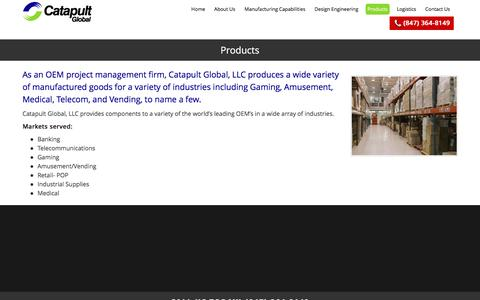 Screenshot of Products Page catapultglobal.com - Catapult Global, LLC - Global Offshore Sourcing - (847) 364-8149 - captured July 11, 2016