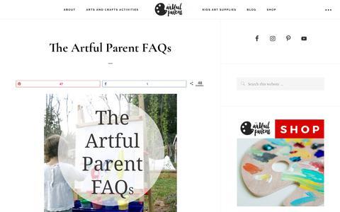 Screenshot of FAQ Page artfulparent.com - The Artful Parent FAQs - captured Oct. 19, 2017